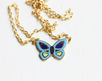 Butterfly Charm Necklace - Blue