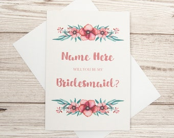Bridesmaid Wedding Card, Will You Be My Bridesmaid? Bridesmaid Proposal Card, Personalised Bridesmaid Card, Floral Bridesmaid Wedding Invite