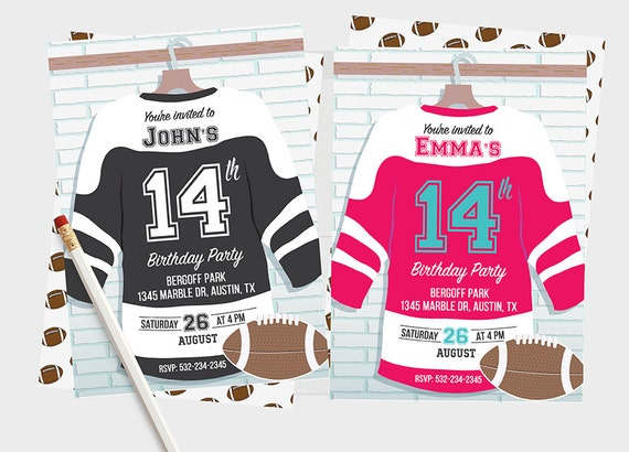Jersey Shirt Football Invitations