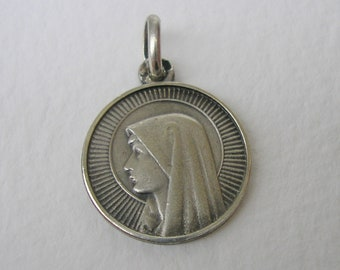 Virgin Mary of Lourdes Sterling Silver Medal / Antique French Religious Pendant