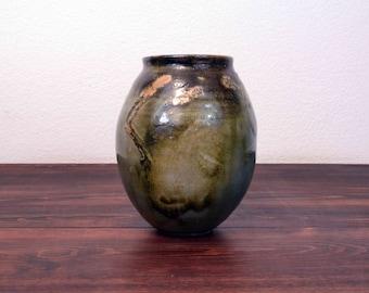 Vintage Studio Pottery Vase Glazed in Greens and Browns - Signed