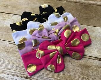 Messy bow headband, polkadot headband, polka dot messy bow headband, bow headband