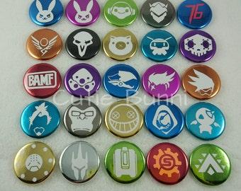 Overwatch Metallic Button Pins