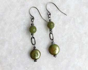 verdigris earrings – olive jade, freshwater pearls, oxidized sterling silver