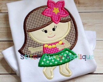 Hawaiian Hula Girl Tropical Luau Summer Beach Machine Applique Design
