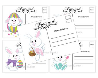 INSTANT DOWNLOAD, Easter Bunny Postcards, 5x3.5 Printable, Glamorous Sweet Events