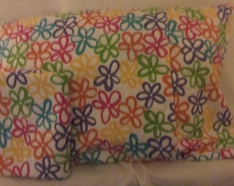 Bright Spring Field Flowers on a White Cotton Pillowcase Set