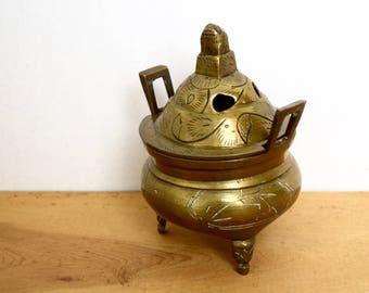 Vintage brass censer…Chinese brass incense burner...etched brass incense burner...foo dog finial...signed.