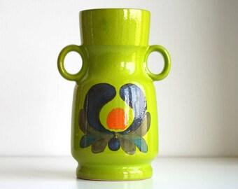 Vintage Wächtersbach Vase 1960s / 1970s West Germany, kiwi green ceramic vase with handles