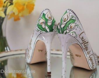 Hand painted Custom wedding shoes,engagment, bridesmaids