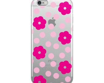 Pink Flower and Polka Dot Pattern iPhone Case