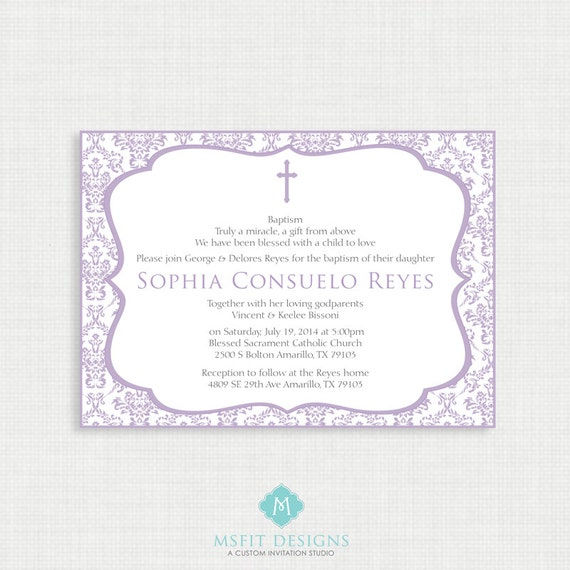 Printable Baptism Invitation - Lavender Printable Invite - Christening, First Communion, Dedication, Baby Blessing