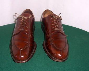 Sz 10 D Vintage Brown Genuine Leather 1990s Mem Cole Haan Flat Lace Up Shoes.