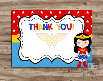 Pre-made, BLANK Wonder Woman Thank-You Card, Coordinates w/ the WonderWoman Birthday Invitation - Digital Printable 2 per page, 4x6 JPG File