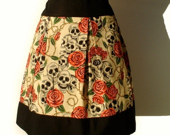 Pinup Skulls and Roses Tattoo Skirt