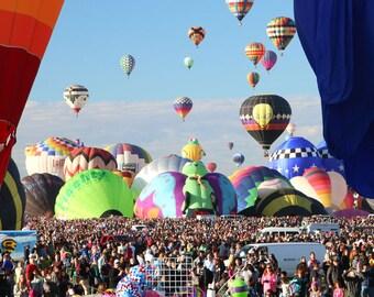 Hot Air Balloon Photo of a Mass Ascension at the  Albuquerque Balloon Fiesta in New Mexico