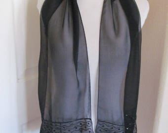 """Scarf Ladies Black Beaded Sheer Poly Scarf 10"""" x 52"""" Long - Affordable Scarves!!!"""