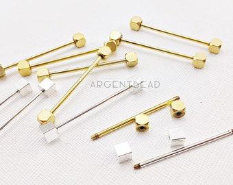 2pc Vintage Collar Bar / Collar Pin / Cube Screw End / Groomsman Men Wedding / Formal Wear Jewelry Gentleman / Tuxedo Gift Collar Hold AG345