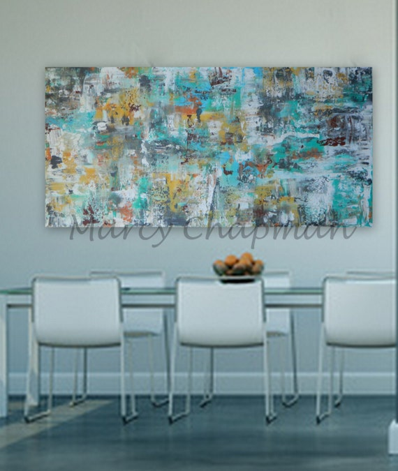 """Huge Modern Abstract  Huge 60"""" x 30"""" Original painting colors: gray, orange gold/yellow, white,red, turquoise/blue"""
