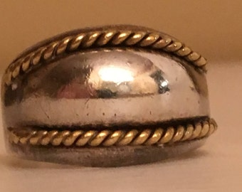 Mexico / Mexican Sterling Silver and Brass Ring 925 - Size 9