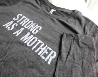 Strong Mother LONG-SLEEVE RELAXED Fit Women T-shirt Graphic Printed Grey Mothers Day Soft Mom Tee