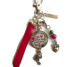 """Bag charm, door keys/teacher / """"A heart for my teacher"""" / year end gift/party / thanks/Christmas/birthday"""