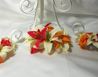 Lily Hair Fascinator For Orange Pink Tropical Wedding 3pc Set For Bride and Bridal Party