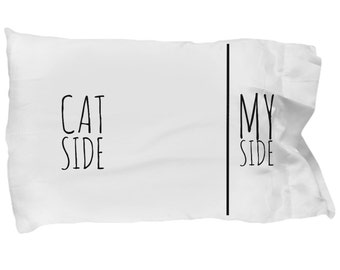Cat Pillow Case - Funny Cat Pillowcase - Cat Side My Side - Cat Gifts