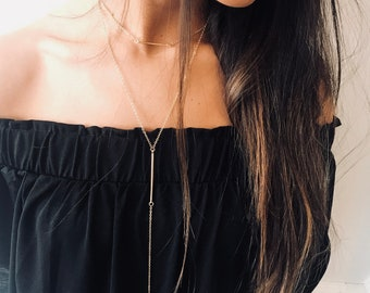 Gold lariat necklace, gold choker, Y necklace, Bar necklace, Dainty Jewels, layered necklace, minimalist necklace, bridal necklace, pendant