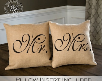 Mr and Mrs Pillows, burlap pillow set, Wedding Gift, Mr. and Mrs. Burlap Pillow Set, His and Hers Pillows, Wifey and Hubby Pillows