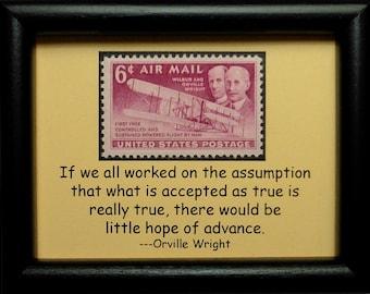 Vintage Aircraft Wilbur & Orville Wright USA -Handmade Framed Postage Stamp Art 0889WA