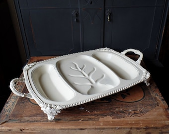 Vintage Tray, Off White, Shabby, Distressed, Silver Plated, Wedding, Footed with Handles, Hand Painted, Serving, Center Piece