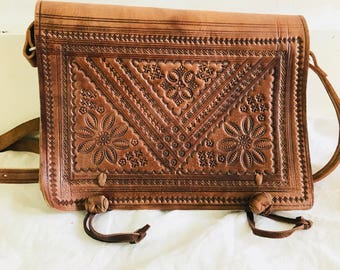 Vtg Moroccan Leather Purse. Adjustable Strap.  Handmade in Morocco.