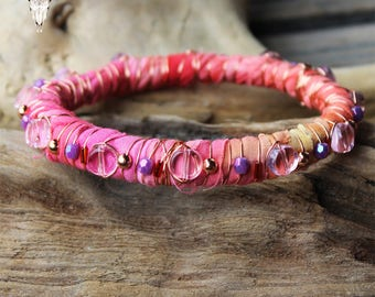 Pink Toned Fabric and Wire Wrapped and Beaded Bangle