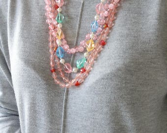 Set of 3 Pink Beaded Necklaces - Pink Bead Wrap Necklace