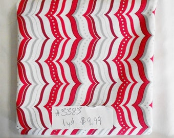 Fabric-1 yard piece-Zig Zag Candy Cane Stripe/Chevron/Metallic Silver/Red/White/Christmas/Xmas/Winter Fabric- (#3383)-Studio 8