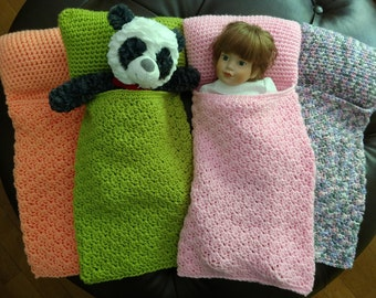 "New Item! Doll Sleeping Bags, Sleeping Bag for 18"" doll, Sleeping bag with attached pillow, Country Goods"