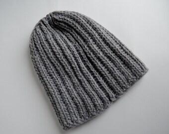 Classic Grey Knit Hat in 100% Wool - Handknit Handmade Beanie - Navigator Chunky Knit version in Grey Heather Wool - Unisex Winter Beanie