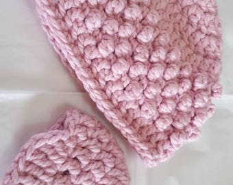 Pink Chunky Yarn Crochet Parent and Child Winter Hat Set