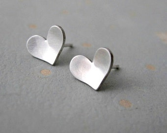 Heart Studs - Heart Stud Earrings - Gift For Women - Girlfriend Gift - Heart Earrings - Silver Heart Earrings - gift for her - Love Earrings