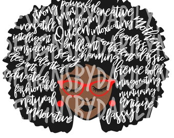 Afro lady with words PNG