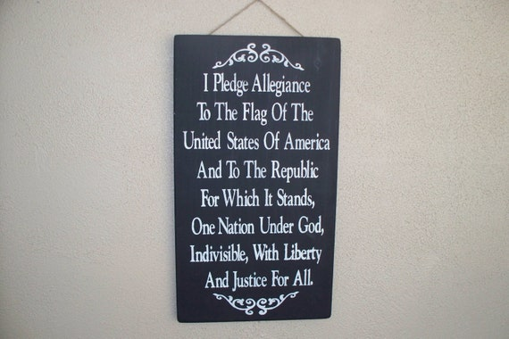 Pledge of Allegiance - Painted Wooden Board - 20 x 12 - Fourth of July - Black chalk paint - July 4th - Independence Day - Hand Painted