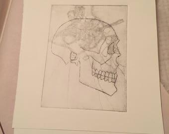 Skull art (etching)