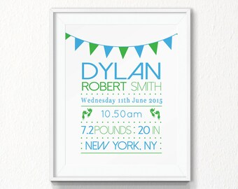 Birth Announcement, Printable, birth details, wall art, nursery wall art, printable nursery wall art, birth stats, baby name, announcement