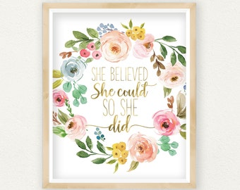 Inspirational Print She Believed She Could So She Did, Pink and Gold Wall Art, Printable Art Quotes, Watercolor Print, Brush Calligraphy