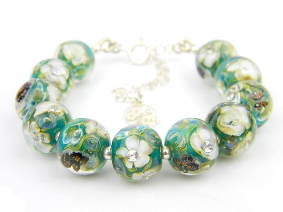 Art Glass Full Bracelet - Rainforest Art Glass Bead Sterling Silver Full Bracelet - Glamour Collection