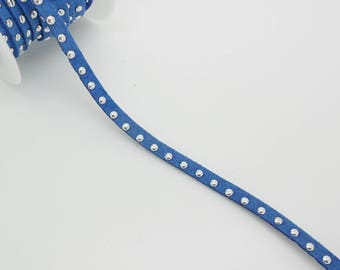 50 cm Suede Blue and Silver 5 mm