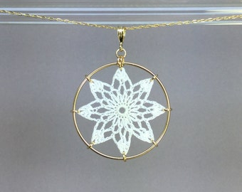 Tavita doily necklace, white silk thread, 14K gold-filled