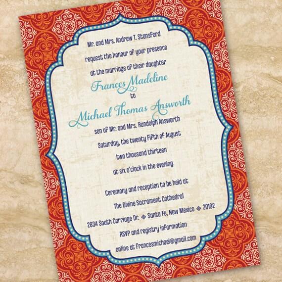 wedding invitations, Moroccan wedding invitations, indigo and rust bridal shower invitations, indigo graduation invitations, IN208