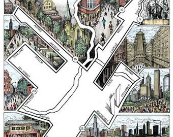 Chicago: The Marathon Map   Chicago Marathon map   Illustrated marathon map   Marathon art   Chicago marathon gift